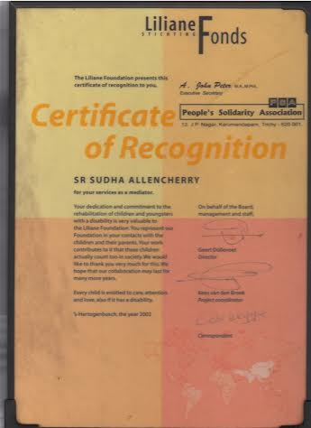 Certificate from Liliane Fonds