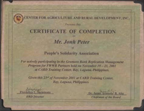 Certificate from the center for agriculture and rural development